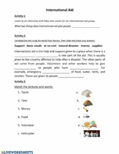 Interactive worksheet International aid