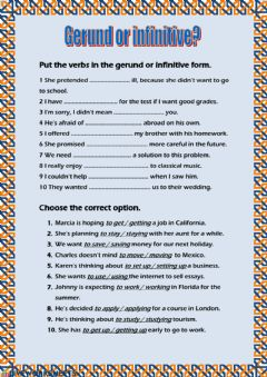 Interactive worksheet Gerund or Infinitive