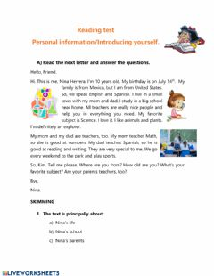 Interactive worksheet Reading personal information