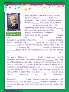 Interactive worksheet Tchaikovsky
