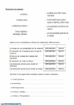 Interactive worksheet La materia y los materiales