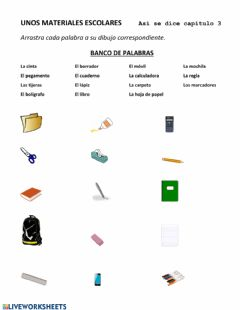 Interactive worksheet Unos materiales escolares