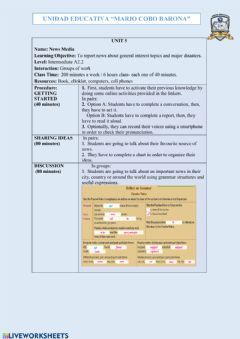 Interactive worksheet News media