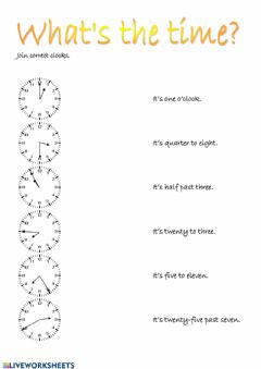 Interactive worksheet What-s the time