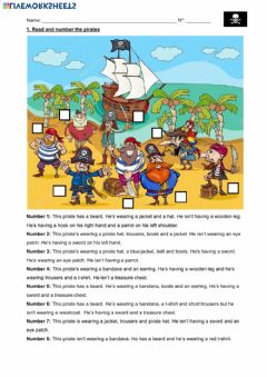 Interactive worksheet The pirates (Present Continuous - Present Simple)