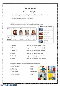 Interactive worksheet Too and Enough