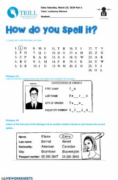 Interactive worksheet Listening spelling alphabet