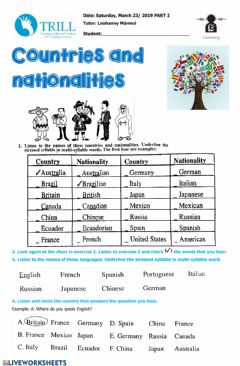 Interactive worksheet listening countries nationalities