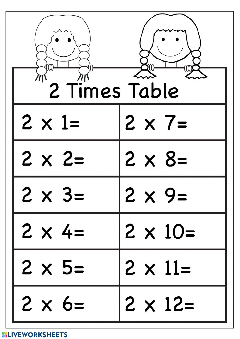 2 Multiplication Practice - Interactive worksheet