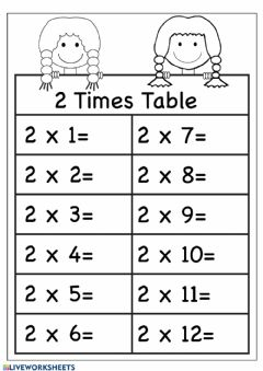 Interactive worksheet 2 Multiplication Practice