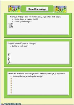 Interactive worksheet Besedilne naloge