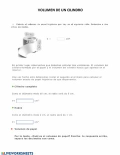 Interactive worksheet Volumen de un cilindro
