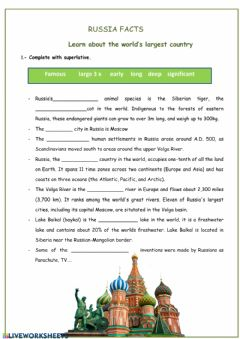 Interactive worksheet Russia facts