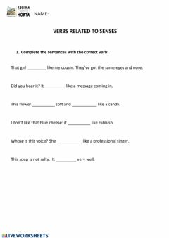 Interactive worksheet Verbs related to senses