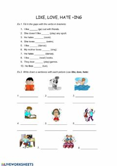 Interactive worksheet Like + ing