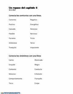 Interactive worksheet Repaso del vocabulario de capítulo 6