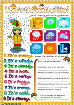 What's the weather like? worksheet preview