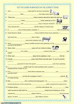 Mixed tenses worksheet preview