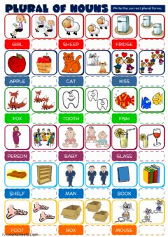 Interactive worksheet Plural of nouns