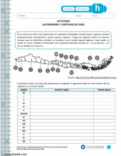 Interactive worksheet Regiones de Chile
