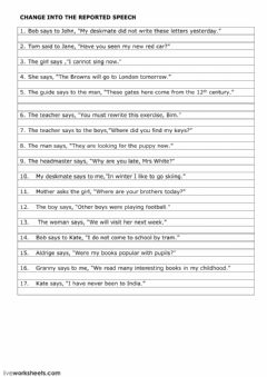 Interactive worksheet Reported Speech 2