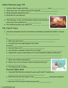 Interactive worksheet Indian Removal