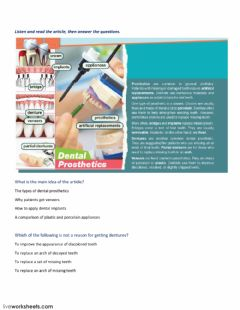 Interactive worksheet Dental prosthetics