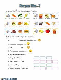 Interactive worksheet Likes and Dislikes (food)