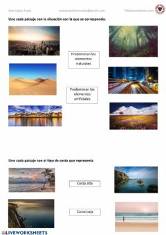 Interactive worksheet Paisajes naturales y artificiales, costa alta y costa baja