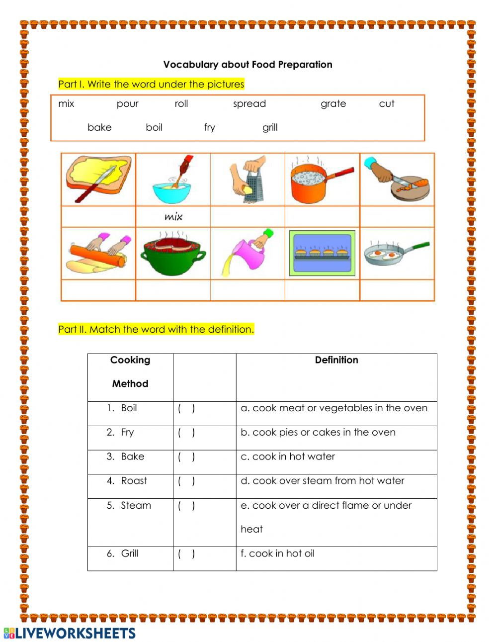 - Food Preparation Vocabulary - Interactive Worksheet