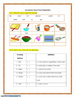 Interactive worksheet Food Preparation Vocabulary