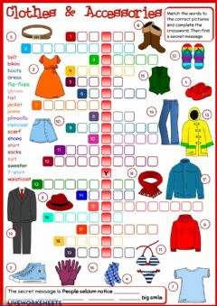 Clothes and accessories worksheet preview
