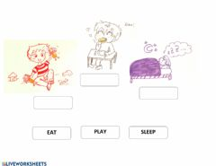 Interactive worksheet Basic verbs - EAT SLEEP PLAY