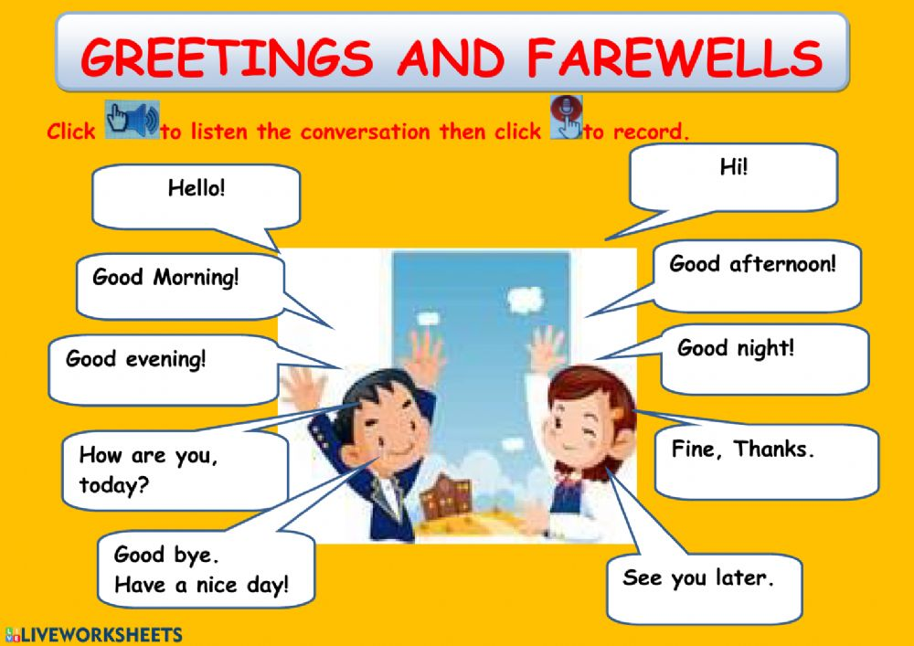 Greetings and farewells: online worksheet and pdf