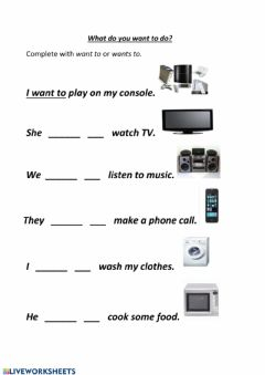Interactive worksheet What do you want to do?