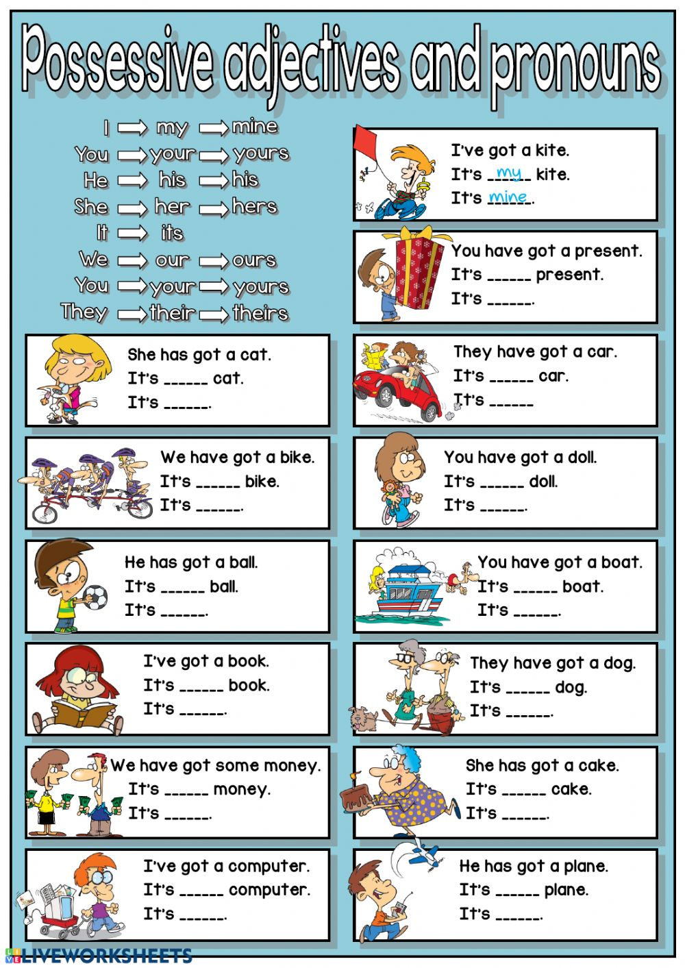 Possessive adjectives and pronouns Interactive worksheet