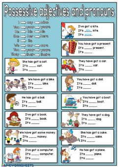 Possessive adjectives and pronouns worksheet preview