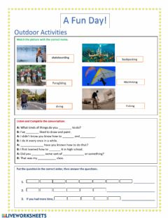 Interactive worksheet Outdoor activities