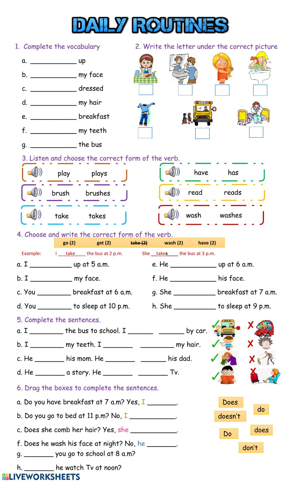 Daily Routines: online and pdf worksheet