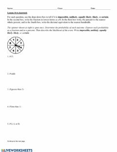 Ficha interactiva Lesson 10-6 Classwork