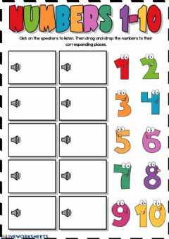 Interactive worksheet Numbers 1-10 (listening)