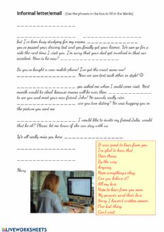 Interactive worksheet Informal Letter-email
