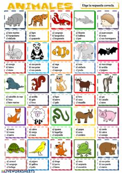 Interactive worksheet Animales - tipo test