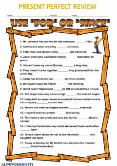 Interactive worksheet Present perfect tense
