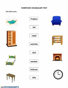 Interactive worksheet Furniture Vocabulary Test