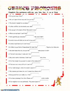 Interactive worksheet Object pronouns