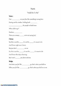 Interactive worksheet Hurts - Hold On To Me