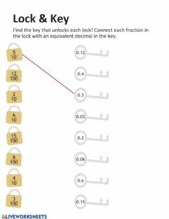 Ficha interactiva Decimals and Fractions