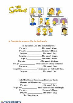 Interactive worksheet The Simpsons' family