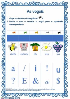 Interactive worksheet As vogais